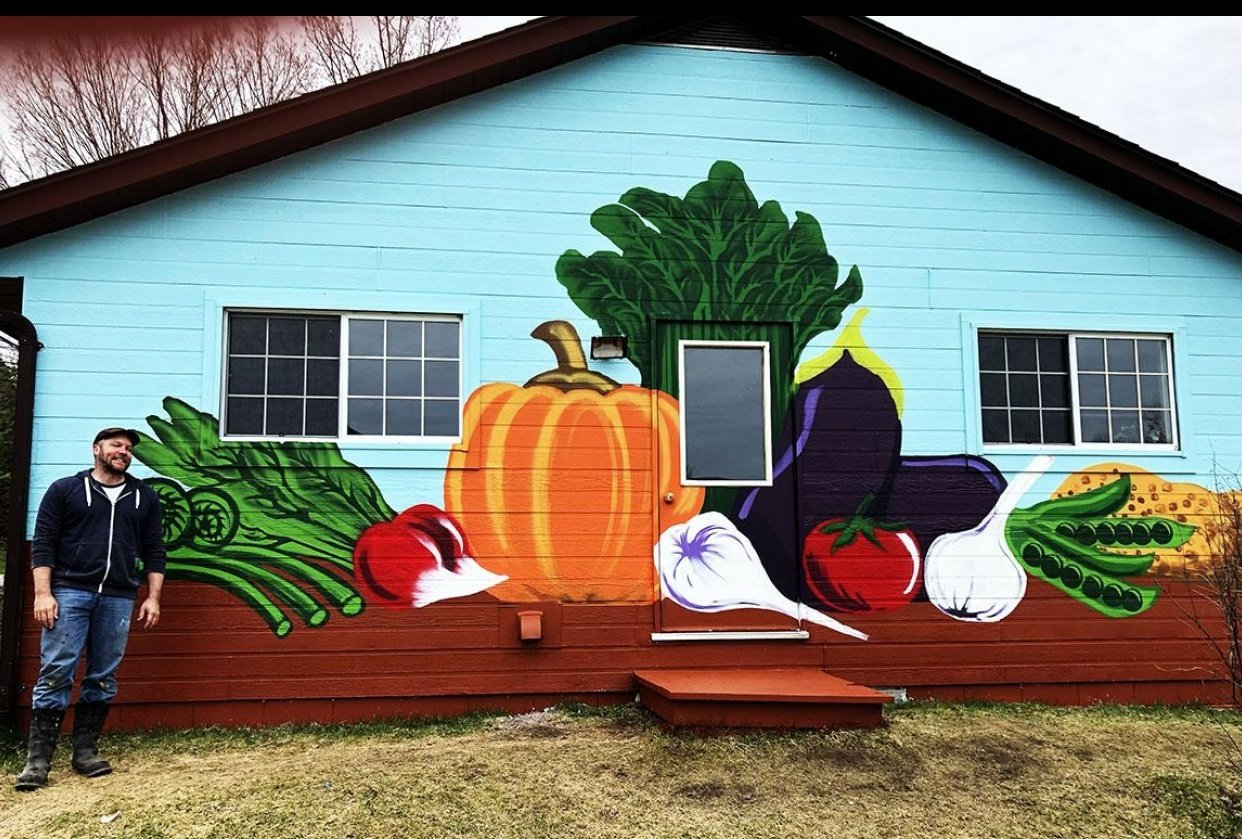 Outdoor Wall Mural for Vegan Restaurant - student project