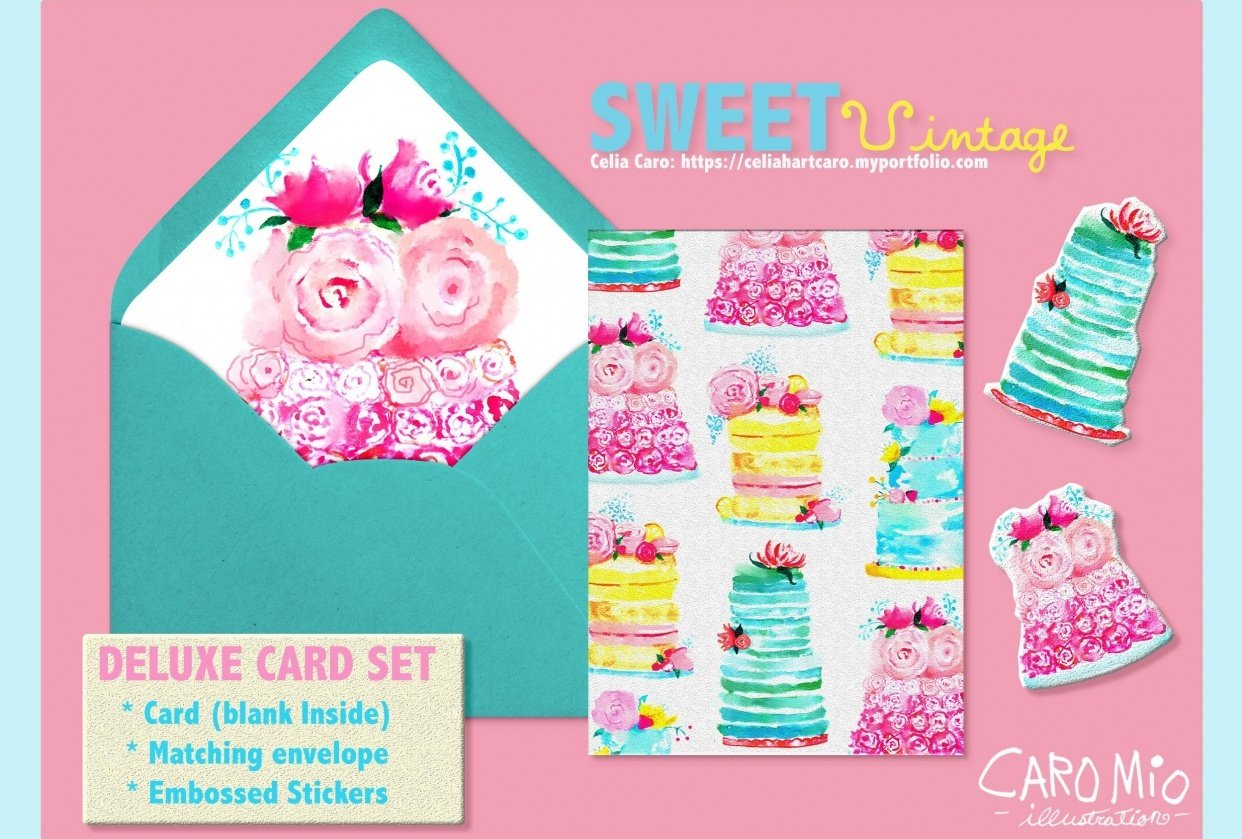 Sweet Vintage Birthday Cake Cards - student project