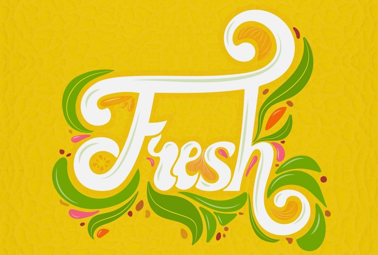 Script lettering (Fruit inspired) - student project