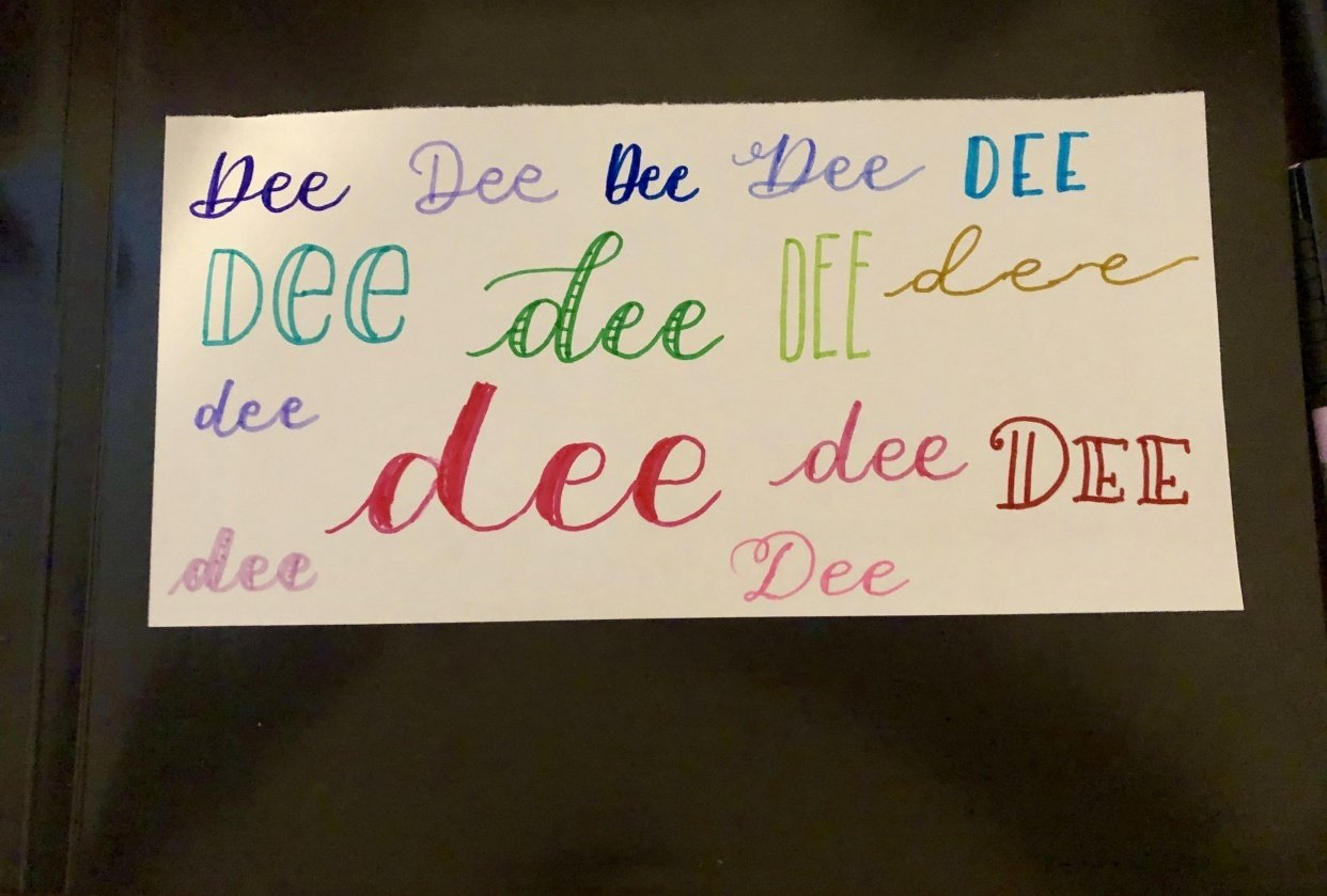 Faux Calligraphy Name - student project