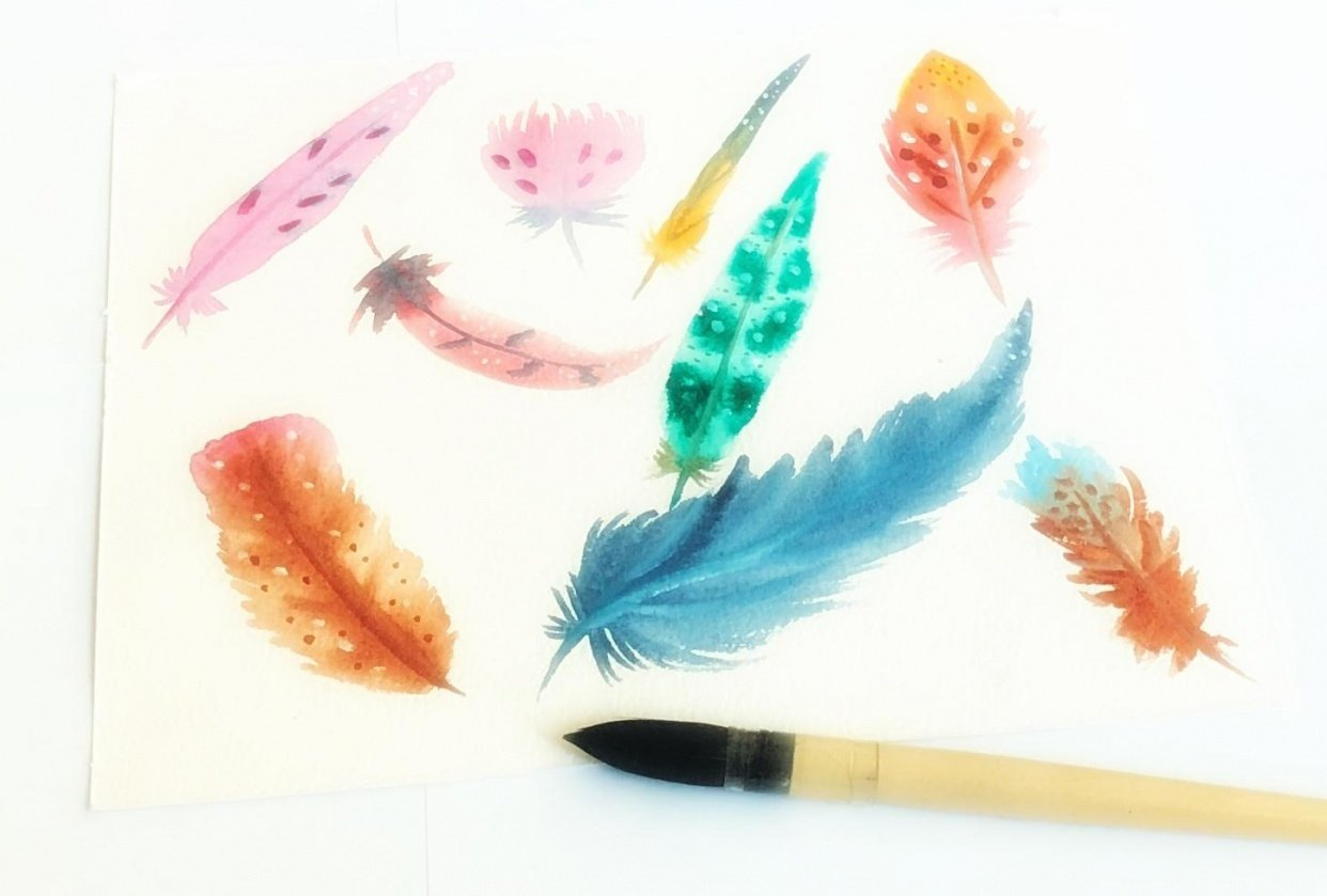 Watercolor feathers with one brush - student project