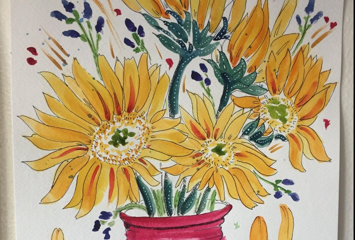 sunflowers in a vase - student project