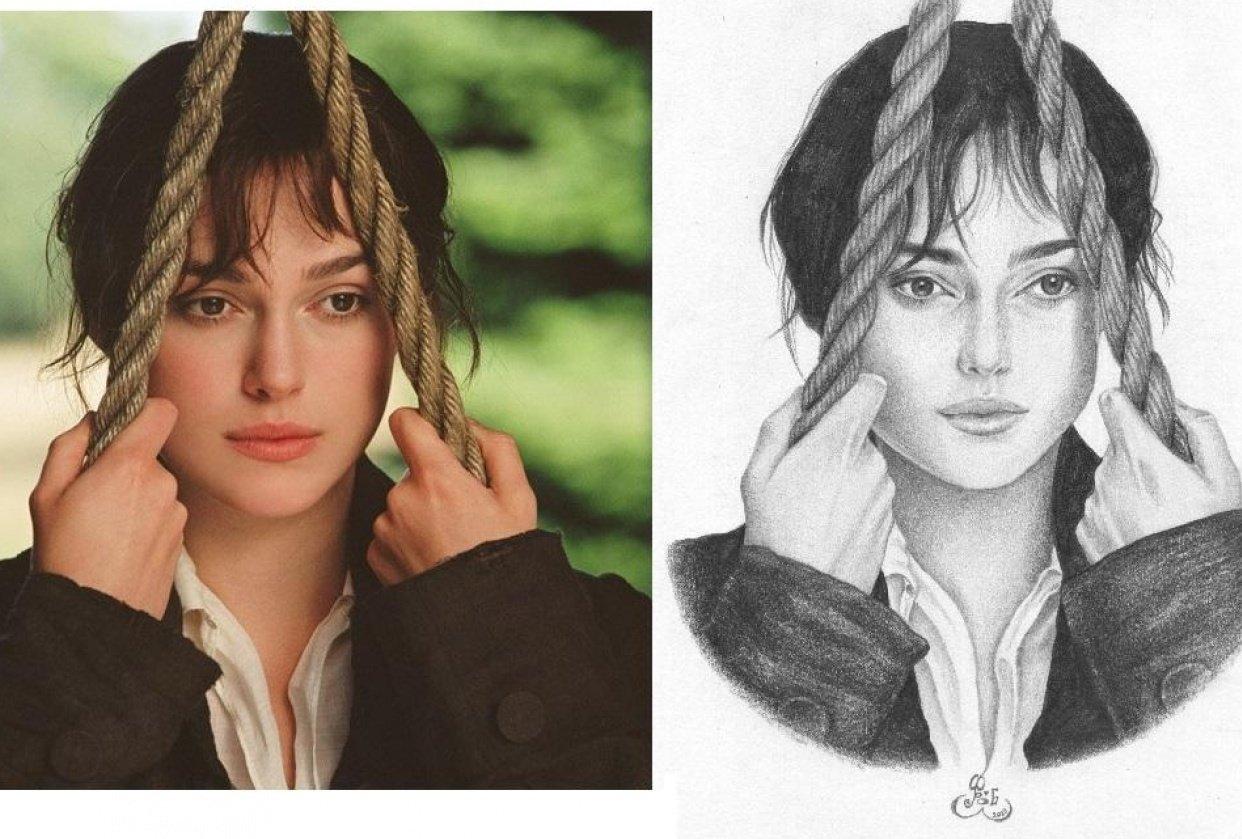 Portrait: Keira Knightley as Elizabeth Bennet - student project