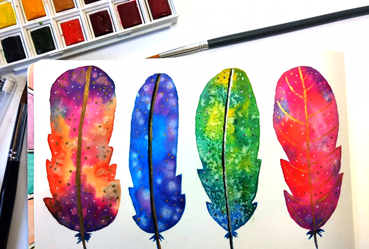 Watercolor Feathers - student project