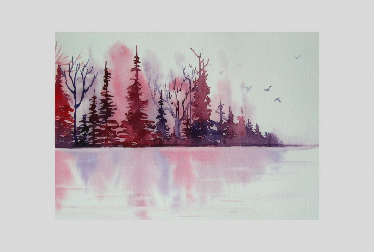 Watercolor Landscape - Dreamy Lake Reflections - student project