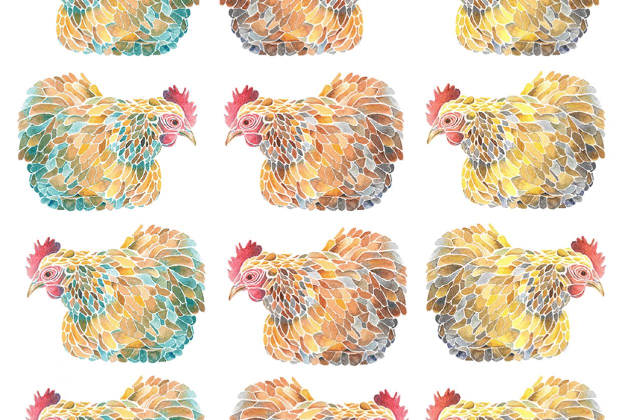 Mosaic Chicken Pattern - student project