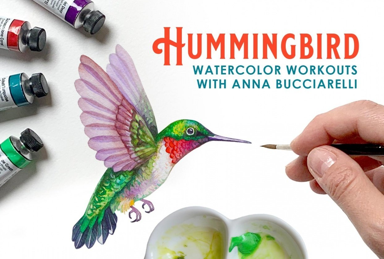 Watercolor Workout: Hummingbirds - student project