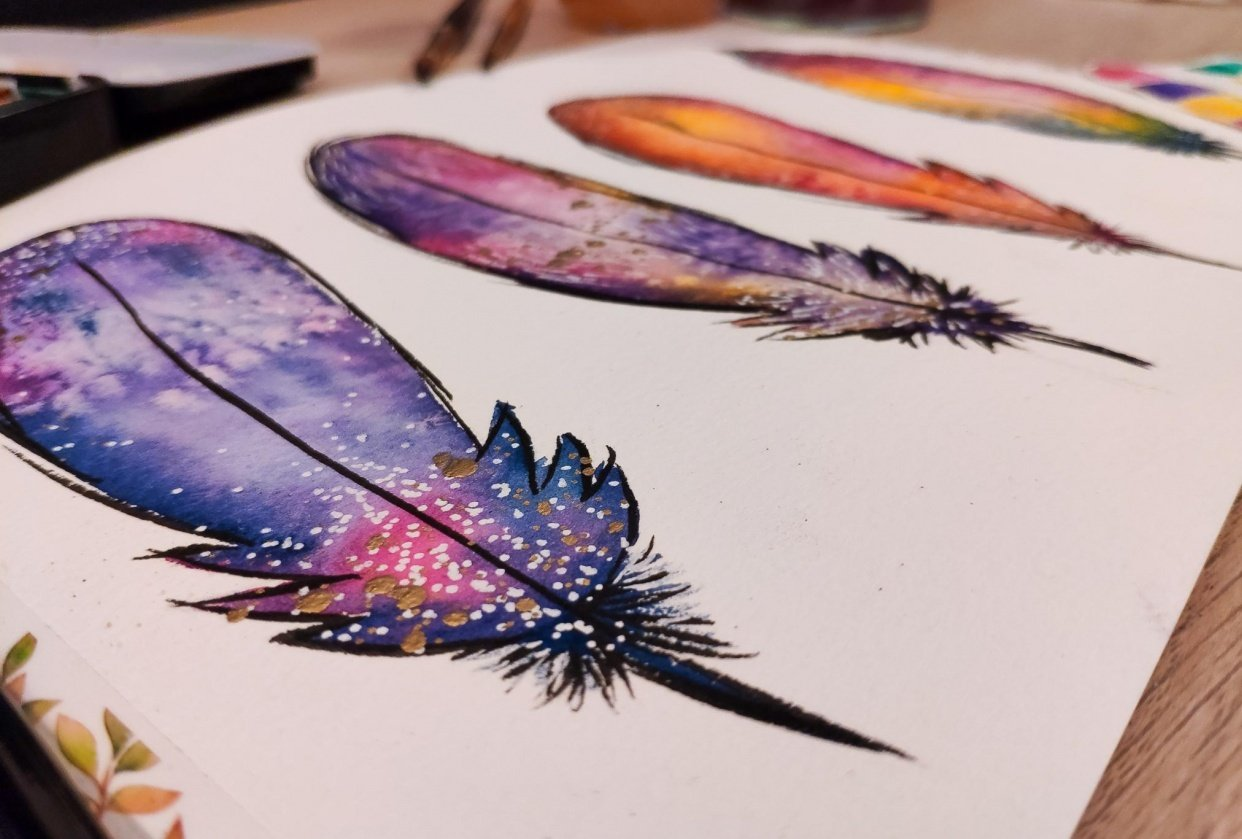 Fun watercolor feathers - student project