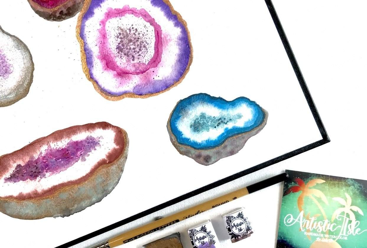 Geodes-Lindsey Starr @artisticisle.watercolor - student project