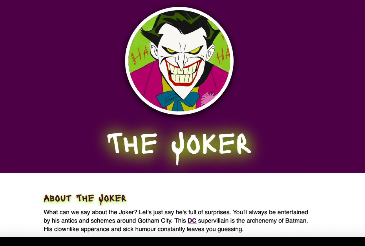 All About the Joker! - First Hand-coded Website - student project