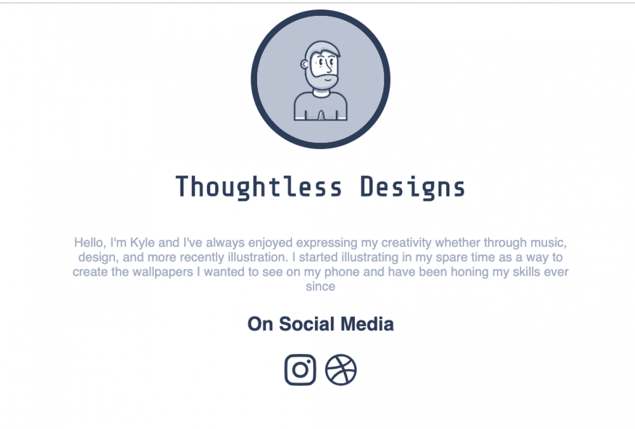 Personal Website Landing Page with social links - student project