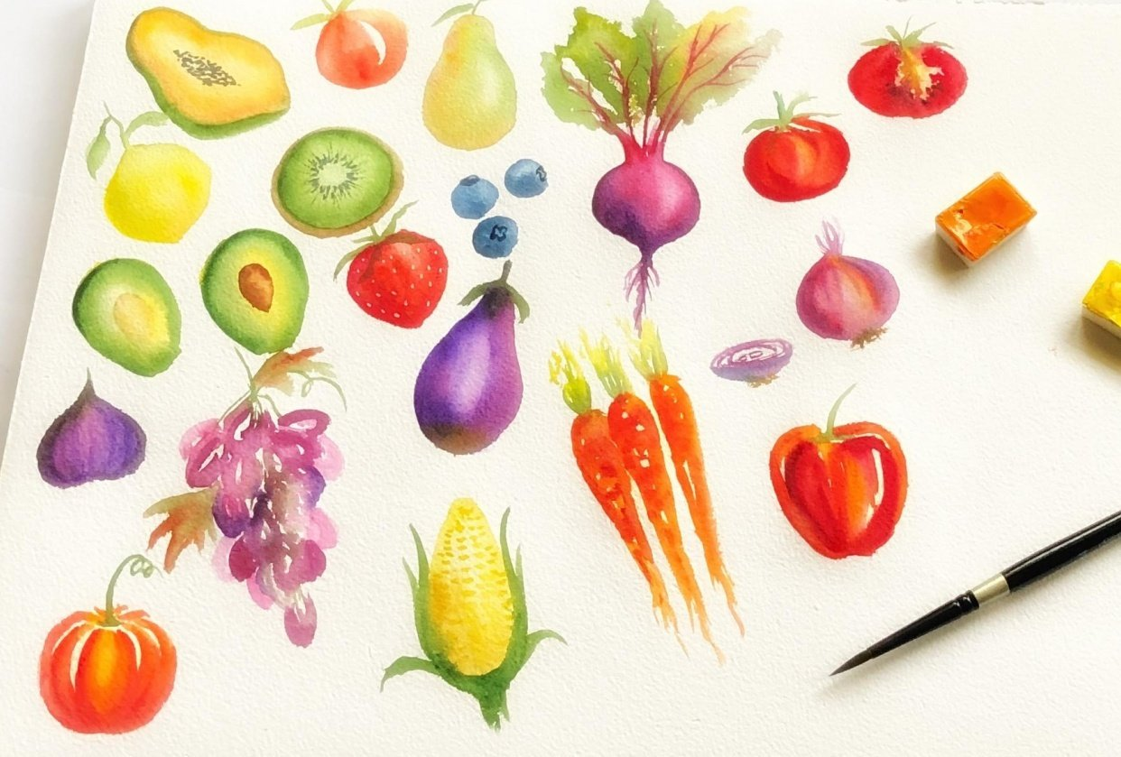 Loose watercolor Fruits and Vegetables - student project