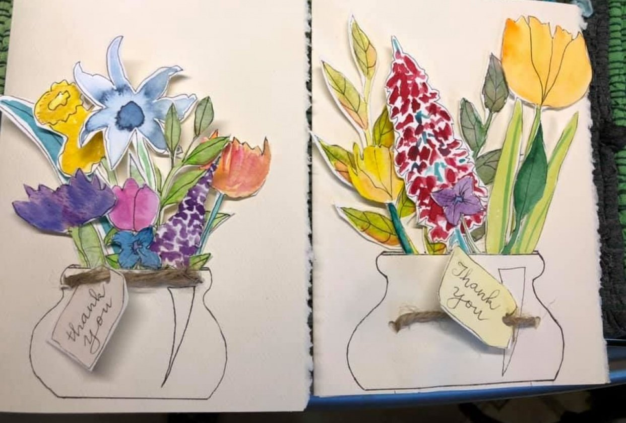 Two Thank You cards and another cut out piece - student project