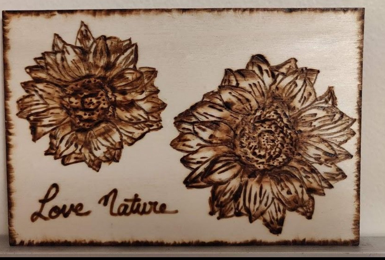 Pyrography - Flowers - student project