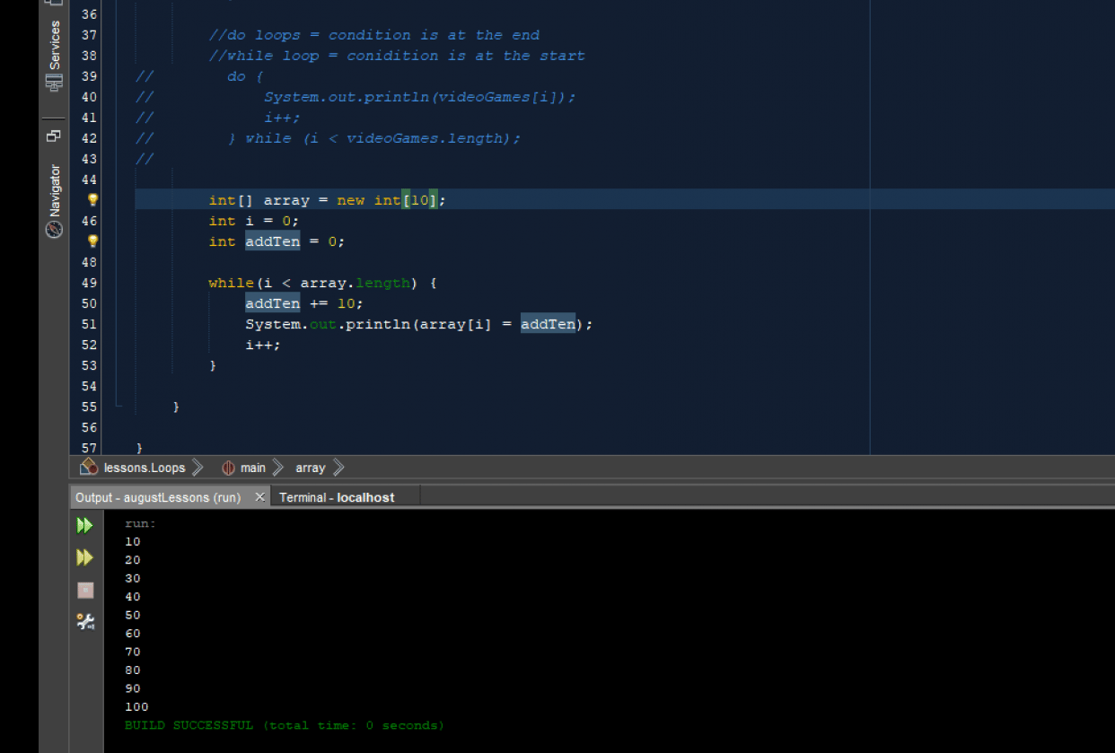Loop Homework with Array - student project