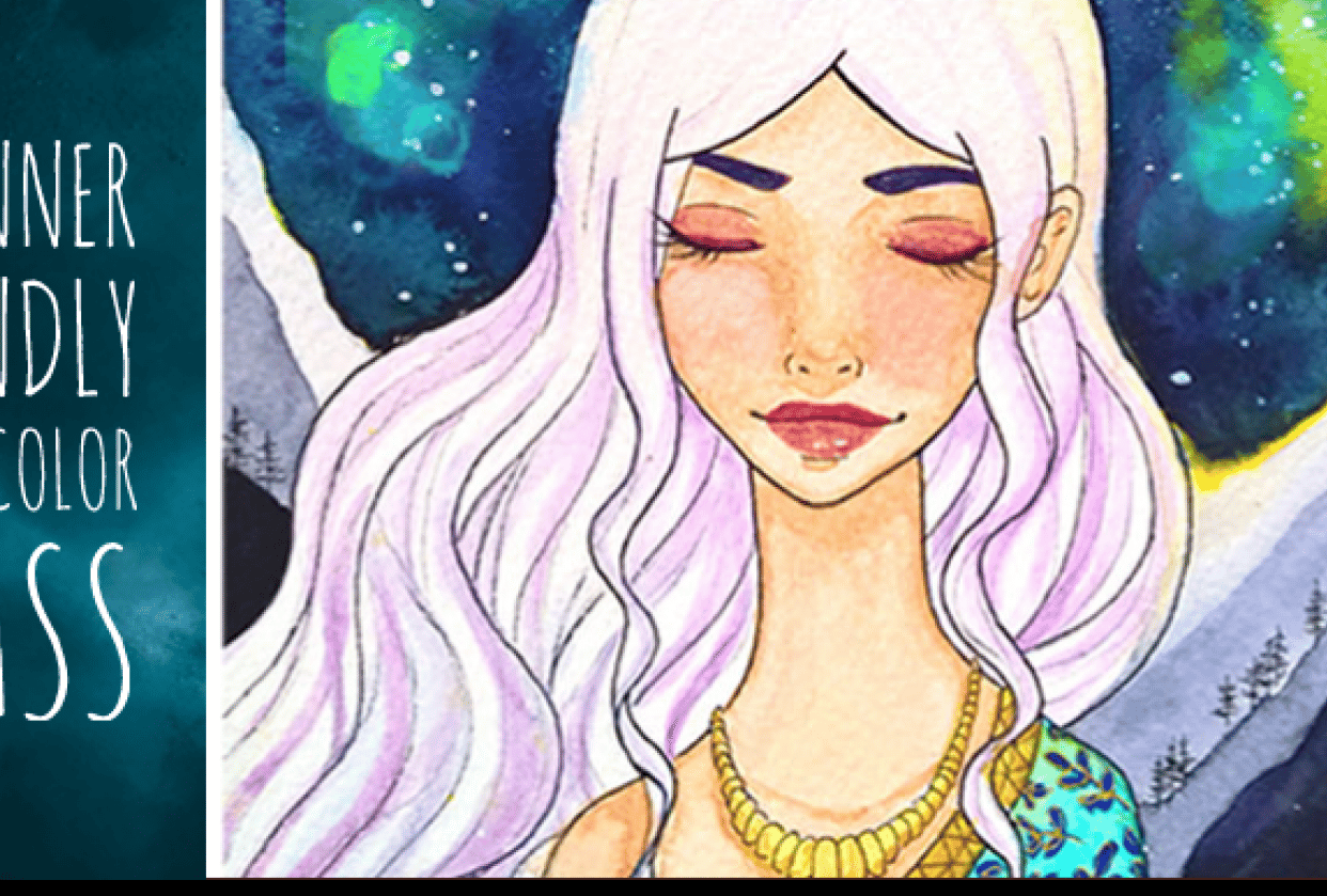 Watercolor Galaxy - Aurora, the Goddess of Dawn - student project