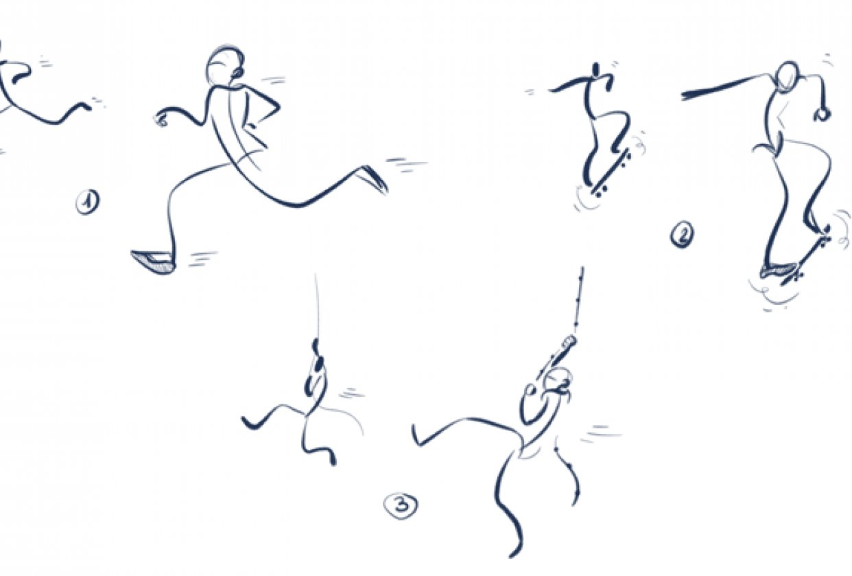 Doodle simple human figures with Cathy Wu - student project