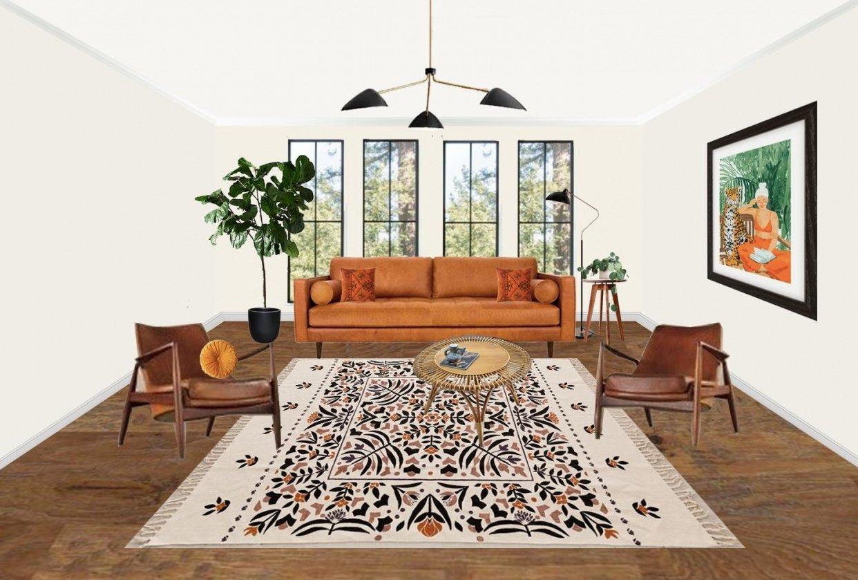 Mid Century Boho Living Room - student project