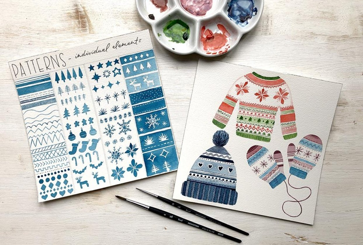 Watercolour Christmas Patterns - student project