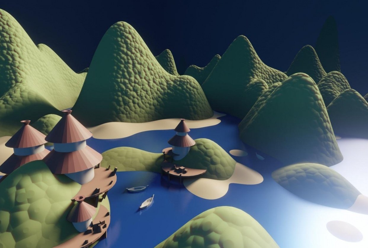 The Huts - blender draft - student project
