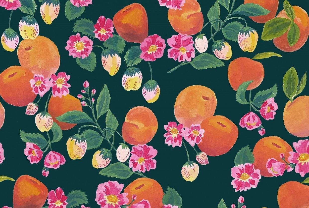 Gouache fruits patterns - student project