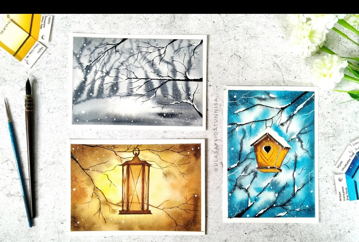 Final projects of Watercolor Holiday Cards by Dhritikana - student project