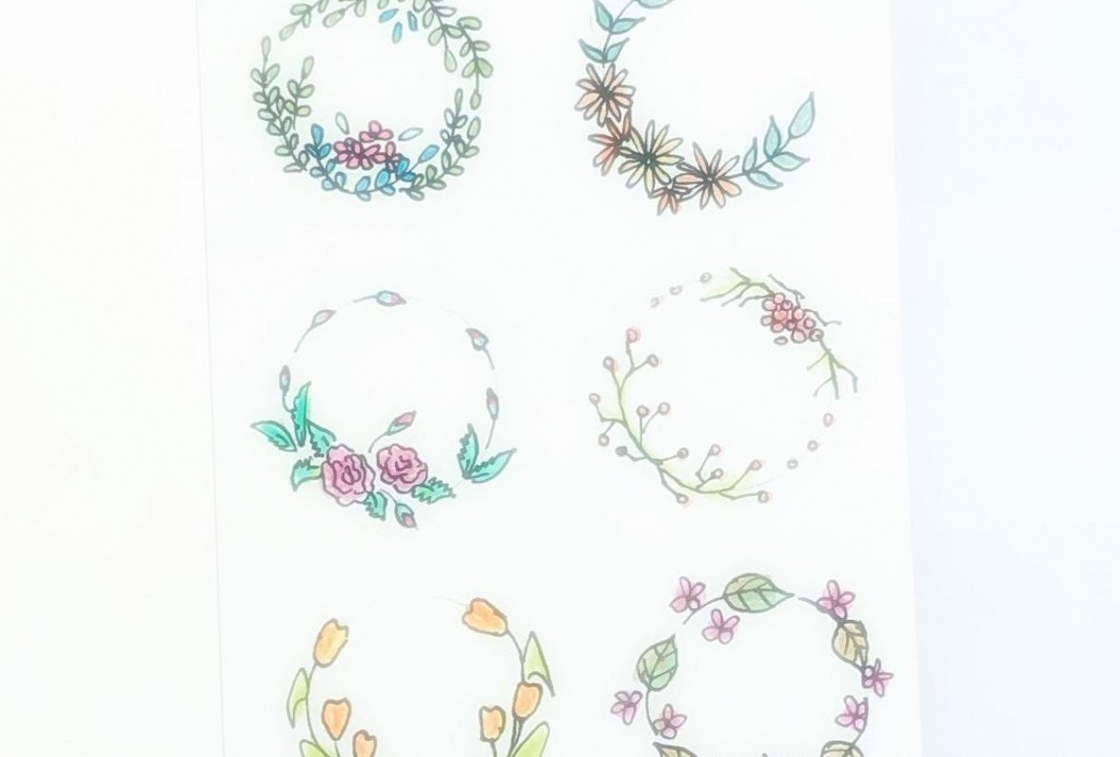Doodled wreaths - student project