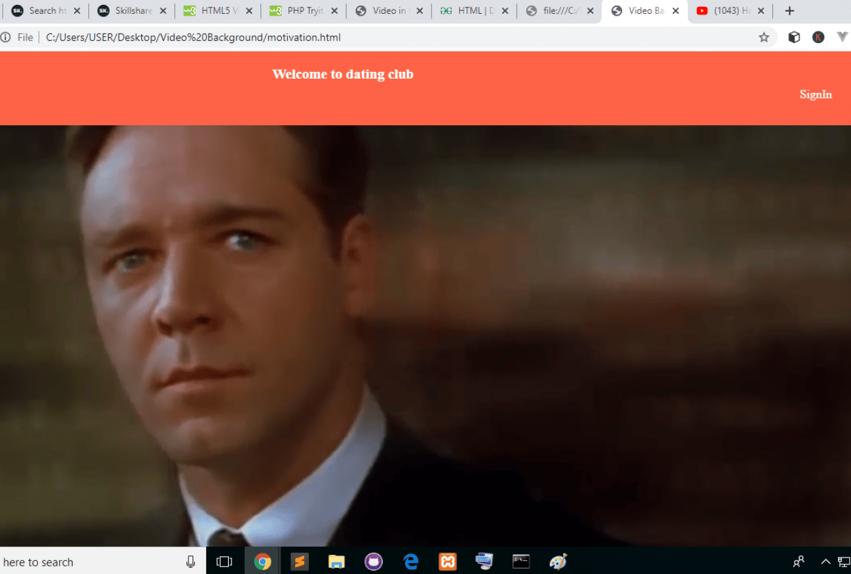 VideoBackground html - student project
