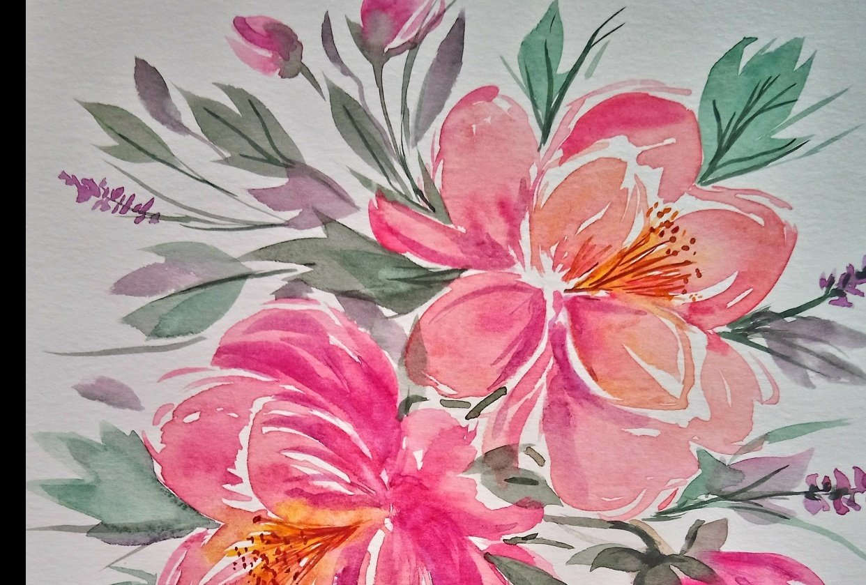 Easy-to-Learn: Loose Watercolor Peonies - student project