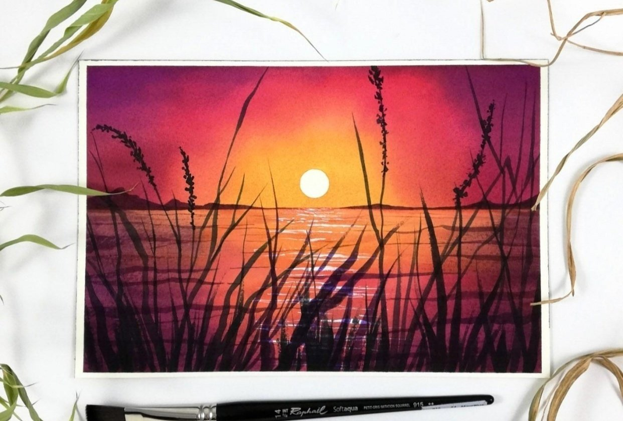 Magical watercolor sunset - student project