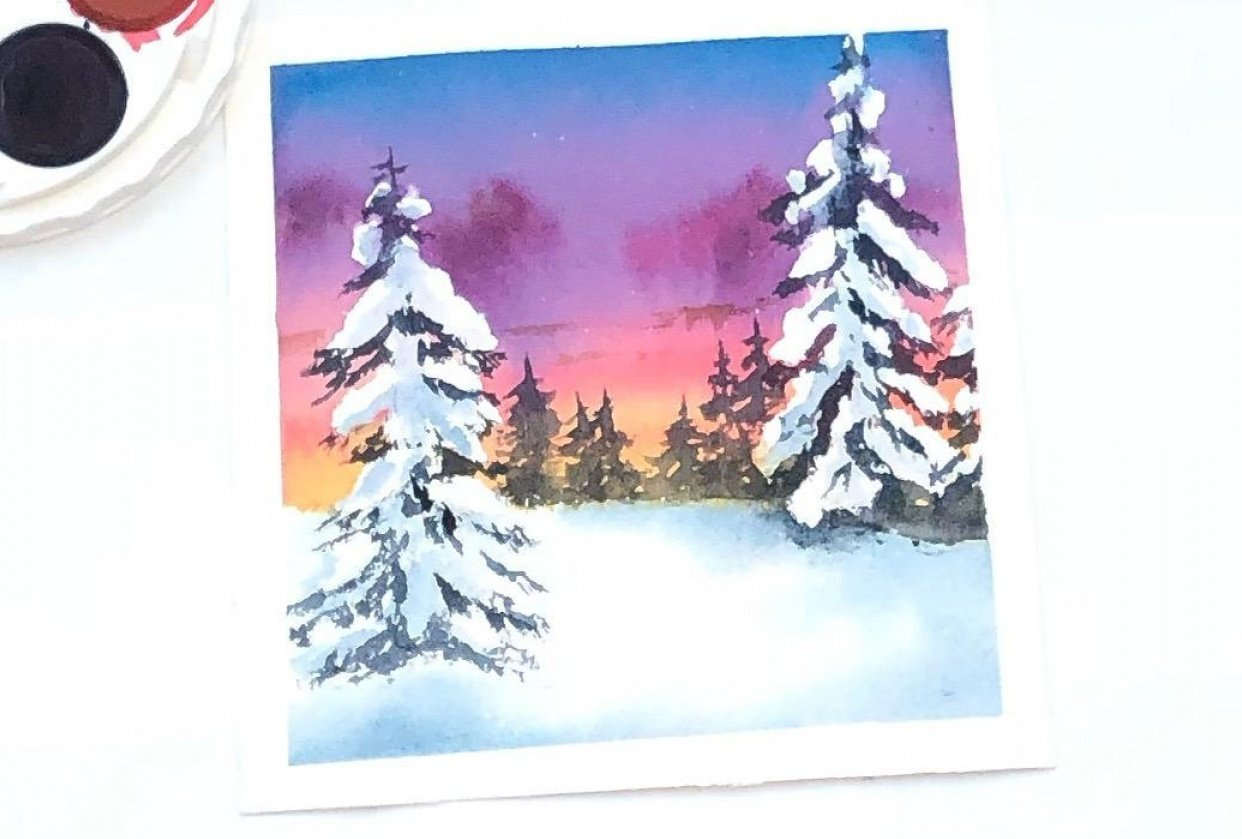 Winter pines in watercolor - student project