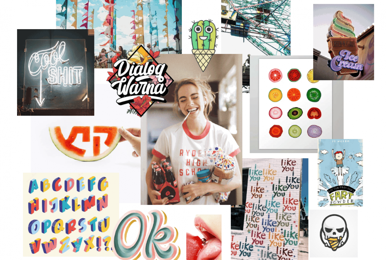 Moodboard for an ice cream store - student project