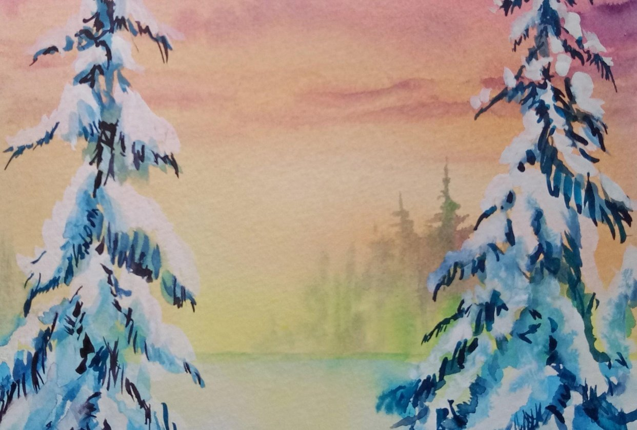 Learn to Paint Gorgeous Winter Pines - student project