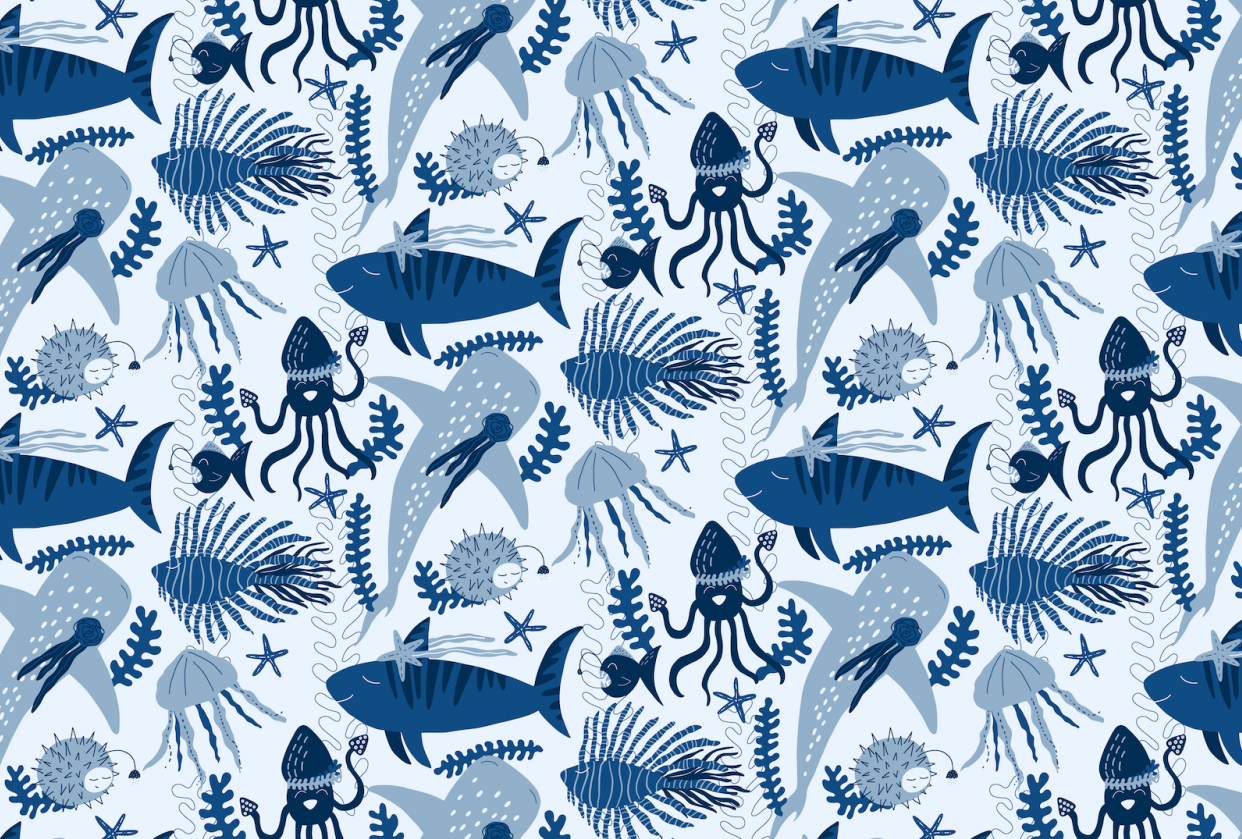 Layered Half Drop Repeat Pattern - Under The Sea - student project