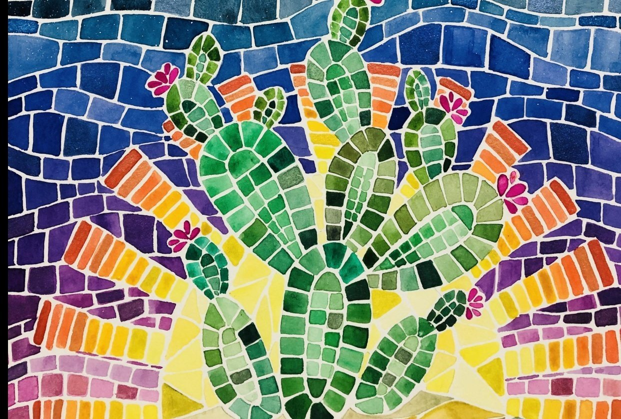 Desert Cacti Horizon Watercolor Mosaic process and final piece - student project