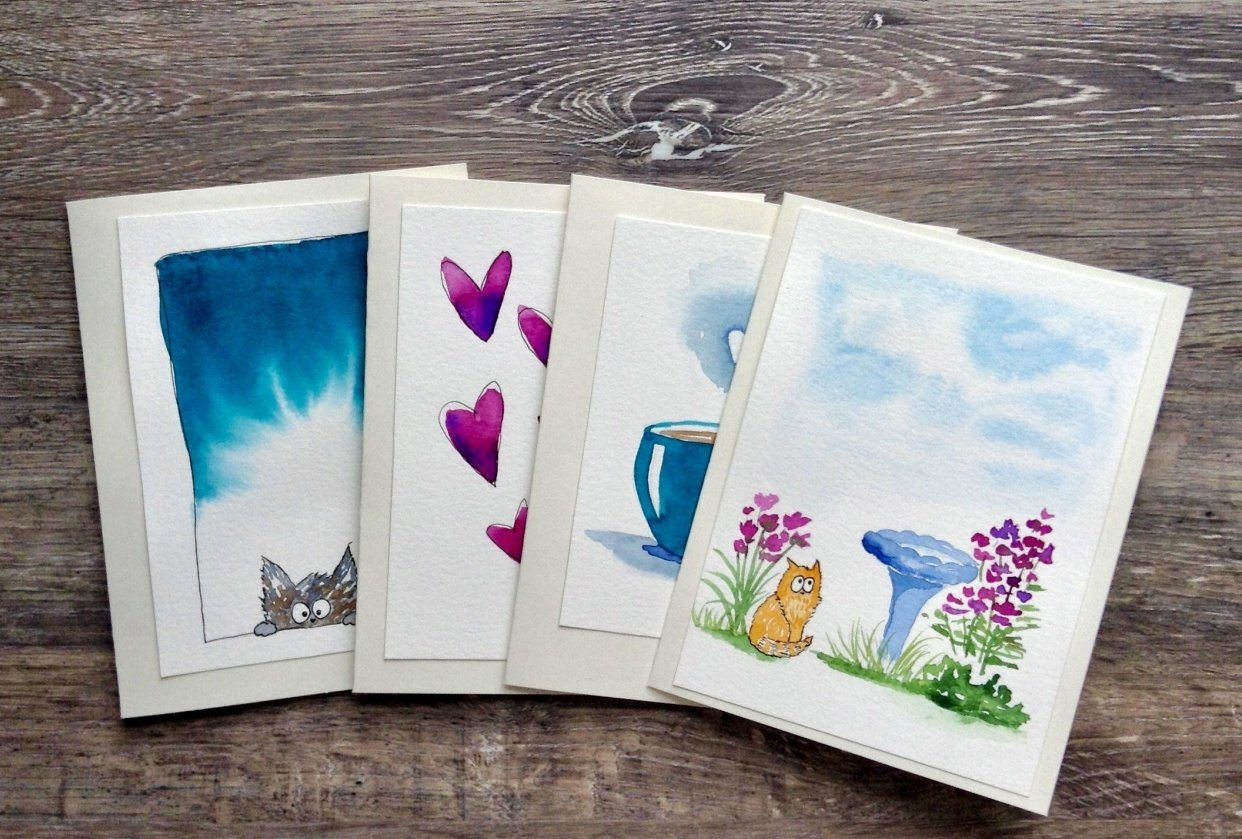 Watercolour Card Gift Set - student project