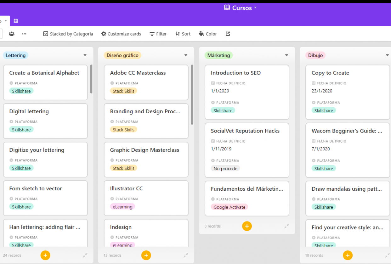 Airtable for organization - student project