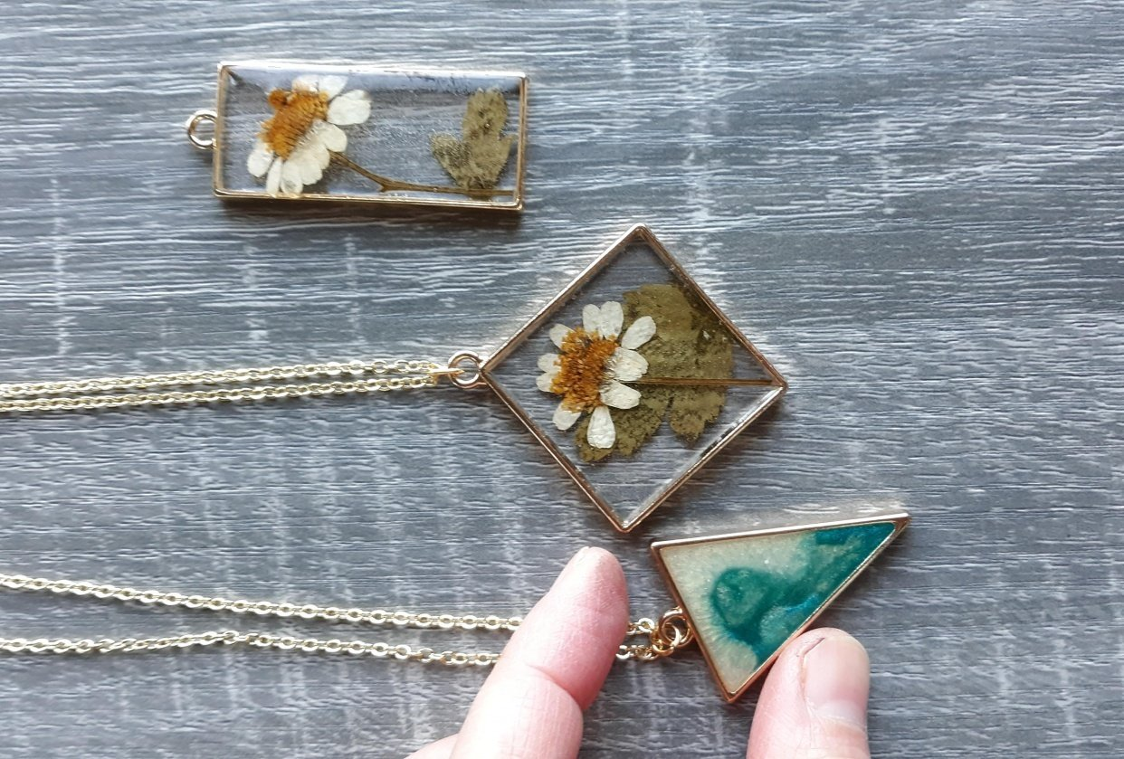 Resin necklaces! - student project