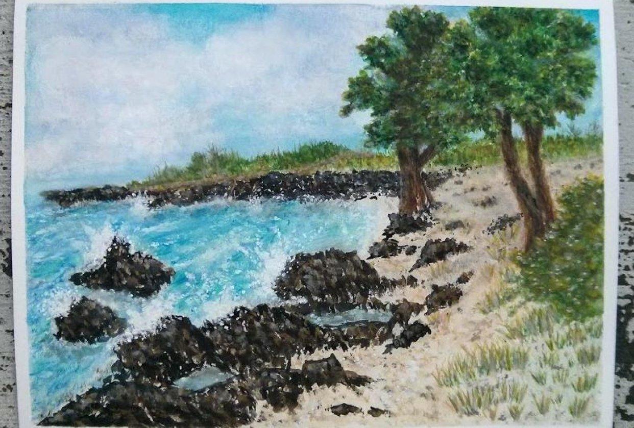 Watercolor Seascape Kona - student project