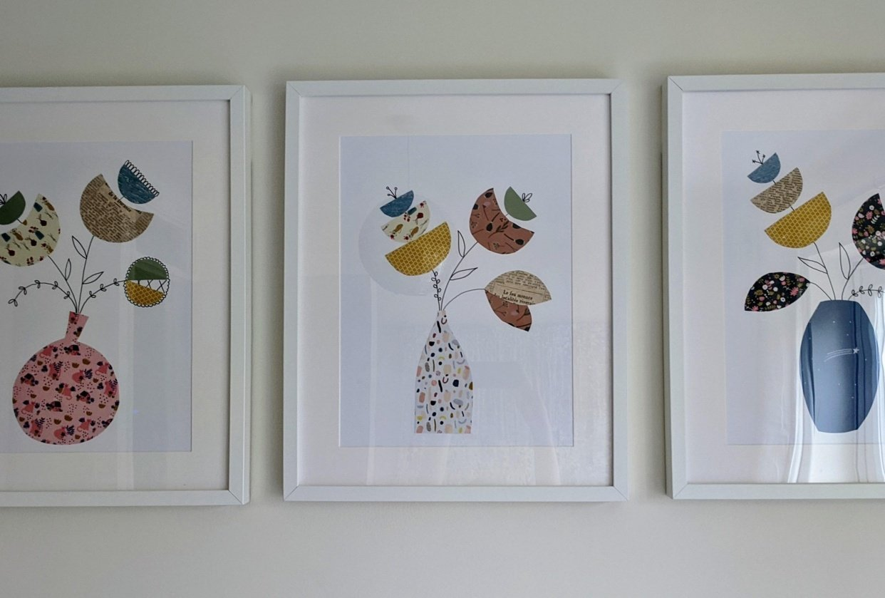 Framed flowers - student project