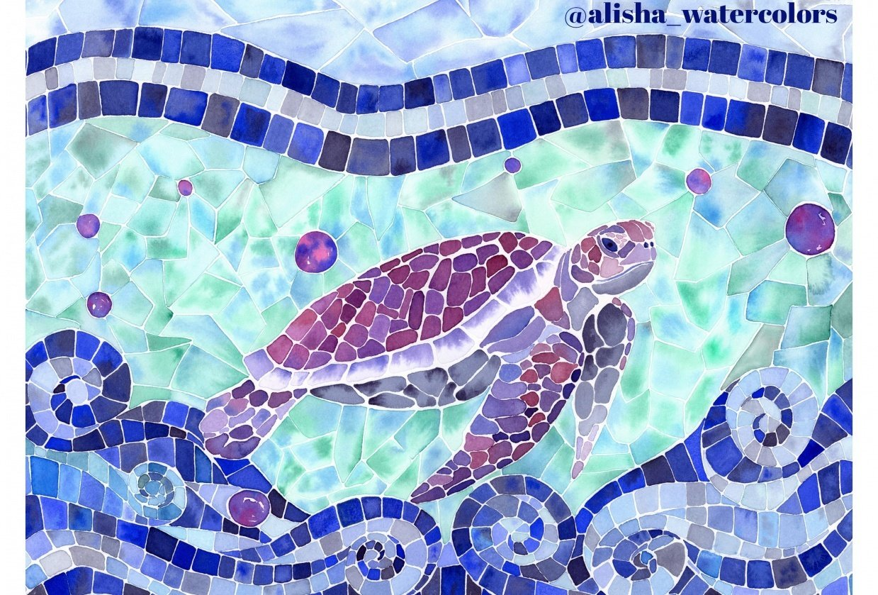 Sea Turtle Watercolor Mosaic - student project