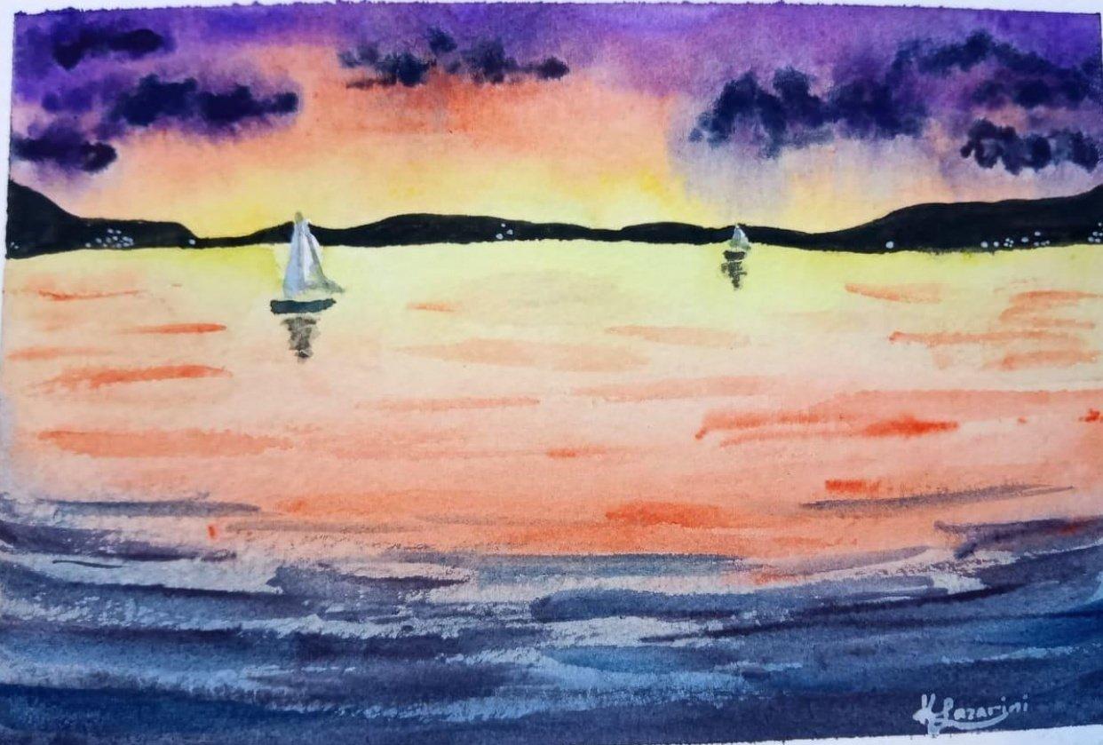 Sunset sea - student project