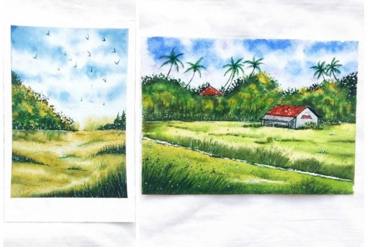 Green watercolor landscape - student project