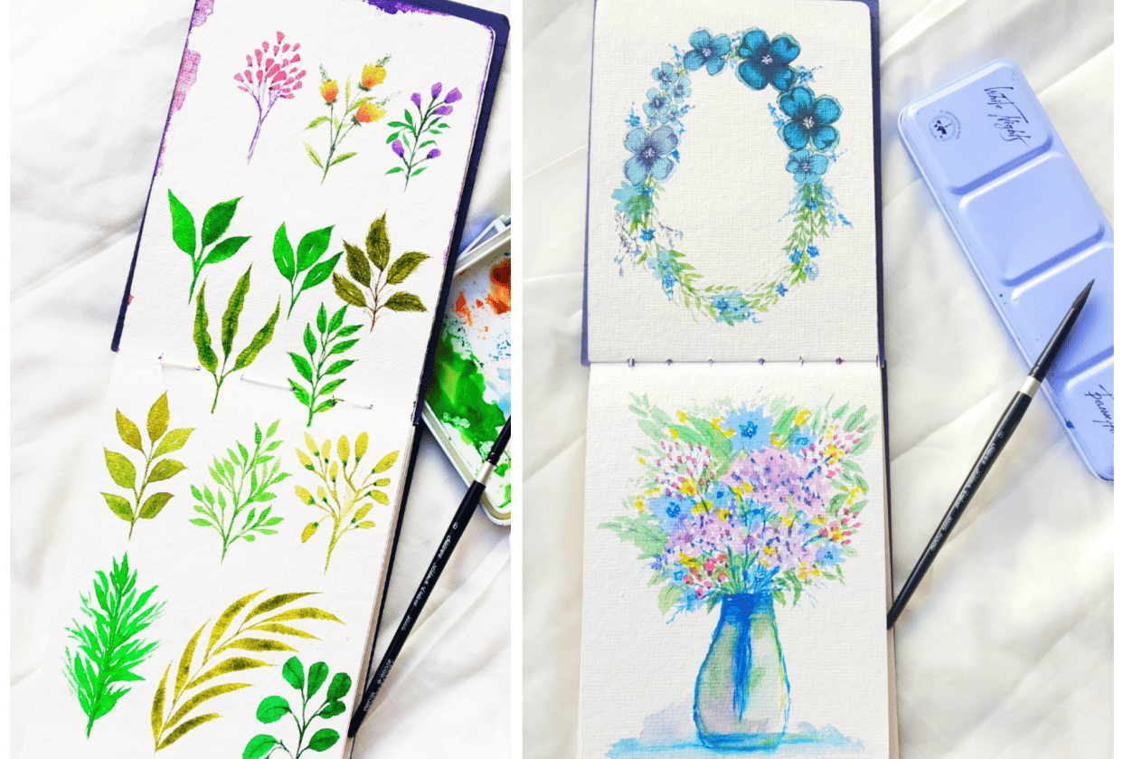 watercolor floral master class-loose florals, fillers and leaves - student project