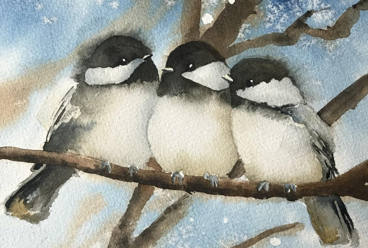 Chickadees on Branches - student project