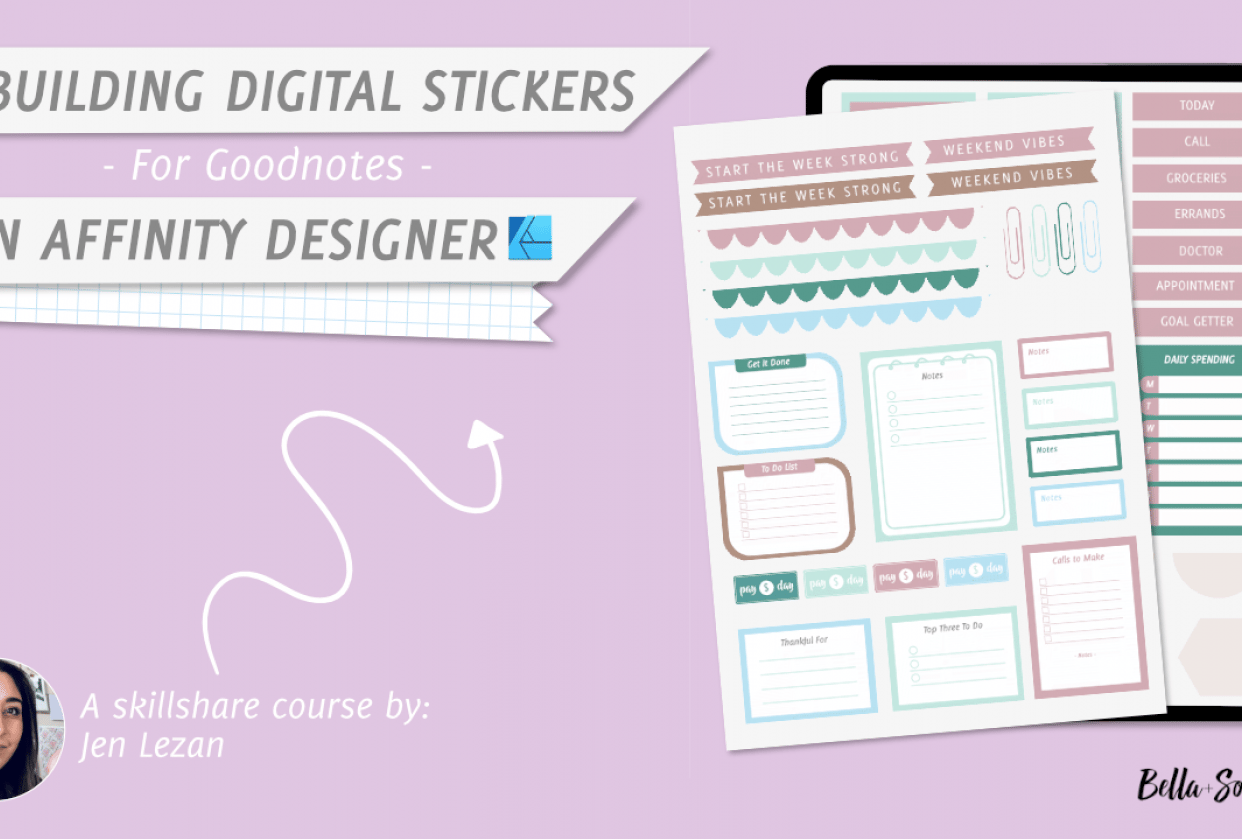 Designing Digital Stickers in Affinity Designer by Jen Lezan - student project