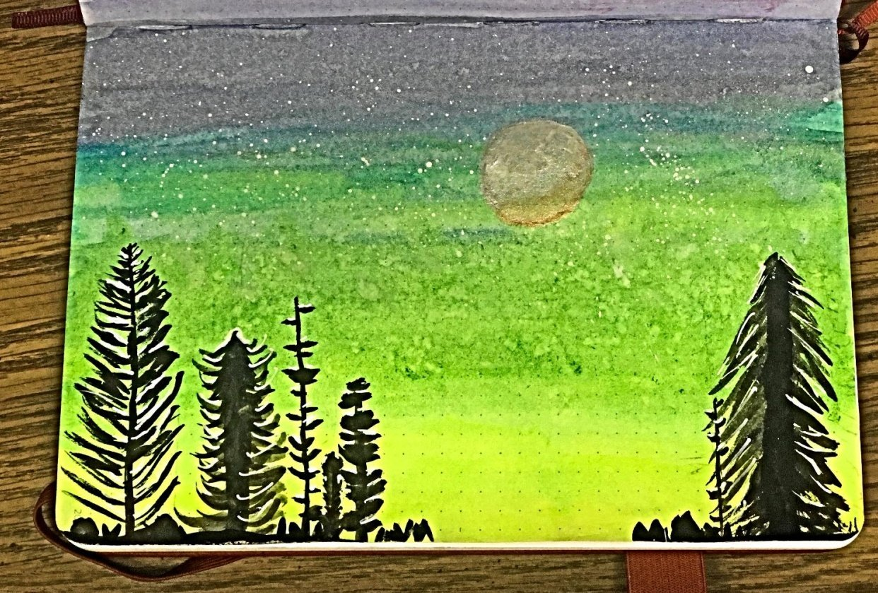 Pine Trees with Moon in Art Journal - student project