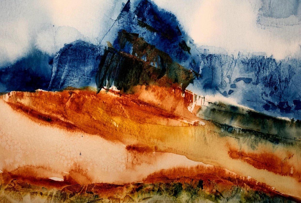 Watercolor Mountain Landscape Textures - student project