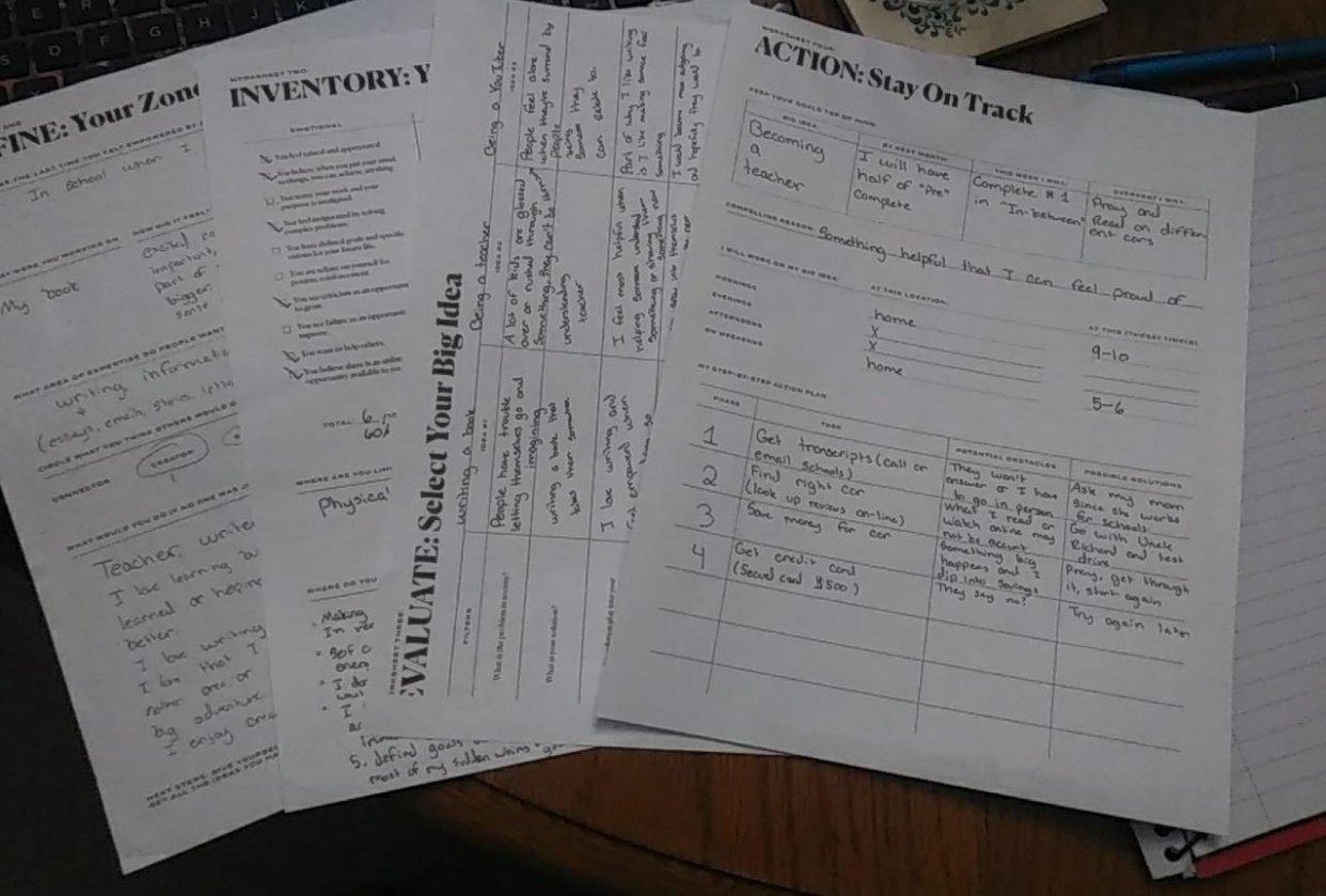 Big Idea worksheets - student project