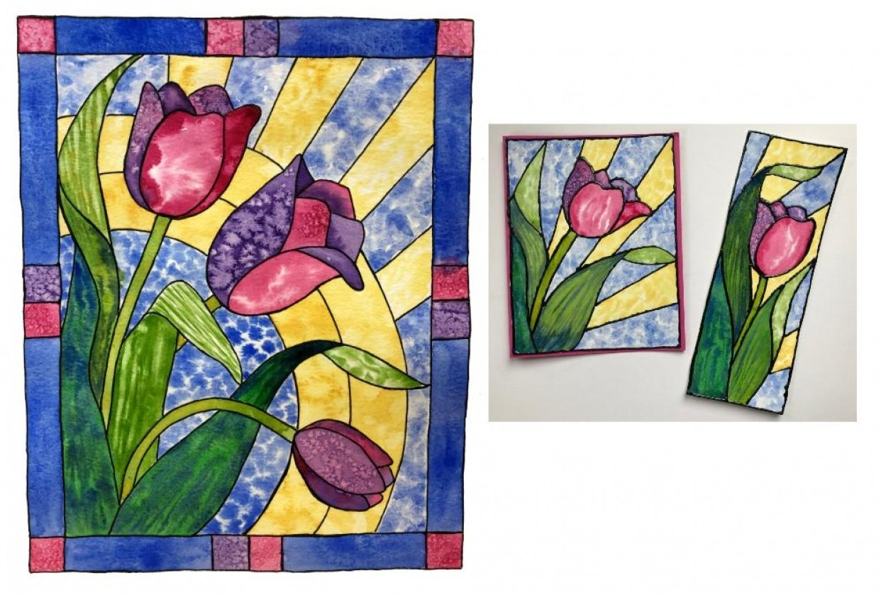 Stained Glass Tulips - student project